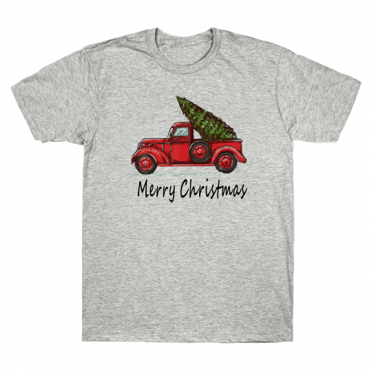 Red Truck with Merry Christmas Tree Vintage Graphic Men's T-Shirt Xmas Gift Tee