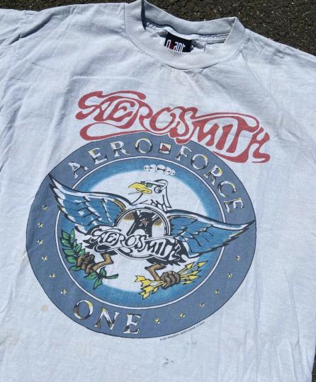 Retro 2001 Aerosmith Aero Force One Rock Band T-shirt Double Sided Tour Tee Sz L