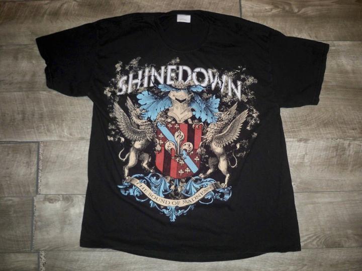 Retro Hanes ShineDown Black Concert Band Tour Short Sleeve Mens Shirt Tshirt XL
