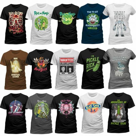 Rick And Morty T-Shirt Pickle Rick Get Schwifty Spiral Portal Mens Tee Free ship