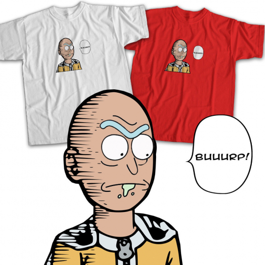 Rick and Morty One Punch Man OPM Anime Funny Mens Womens Kids Unisex Tee T-Shirt