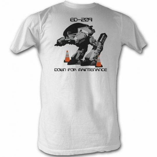 Robocop Down For Maintenance White T-Shirt