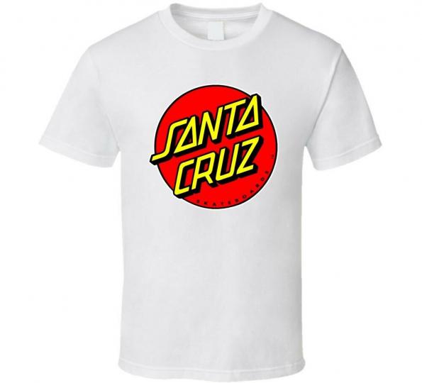 SANTA CRUZ SKATEBOARDS 70s SURF shirt black white tshirt men's free shipping
