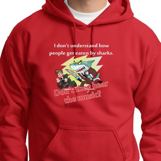 SHARK Music Funny Tee classic Jaws Movie Humor Novelty Gift Hoodie Sweatshirt