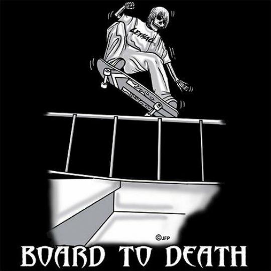 SKATEBOARD BOARD TO DEATH SKULL SKELETON T-SHIRT SK98