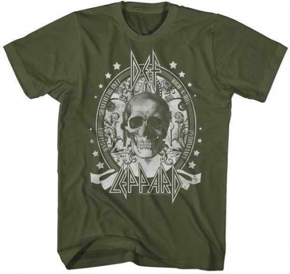 SKULL Def Leppard English Rock Band Heavy Metal Hard Rock GREEN ADULT T-Shirt 3
