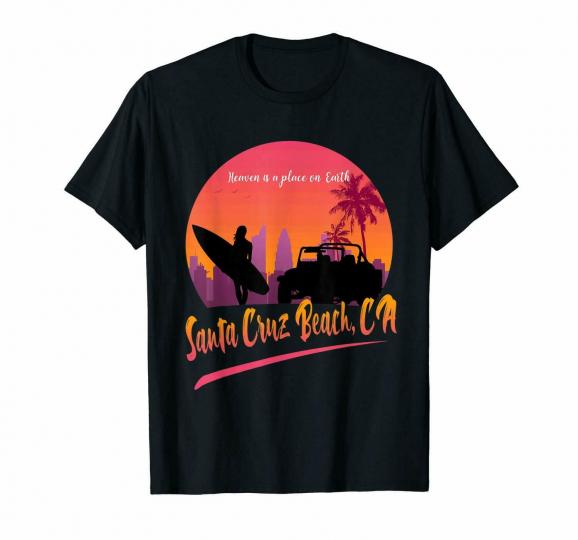 Santa Cruz Beach California Surfing Vacation Relax Time Peaceful Black T-Shirt