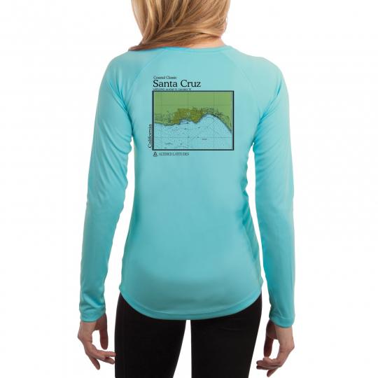 Santa Cruz Nautical Chart Women's UPF 50+ UV/Sun Protection Long Sleeve T-Shirt