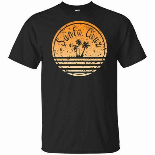 Santa Cruz Retro Surf Palm Tree Tank Top Black T-Shirt Sleeve M-3XL