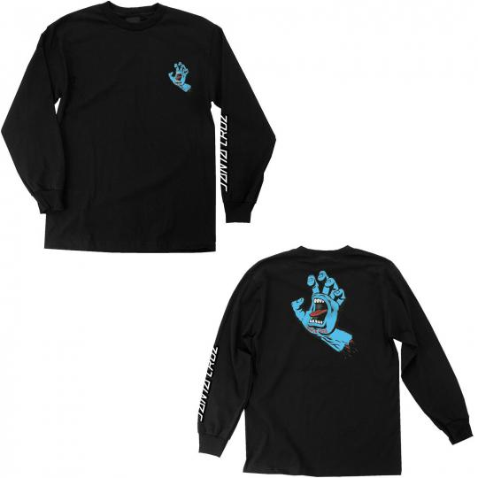 Santa Cruz Skateboard Longsleeve Shirt Screaming Hand Black