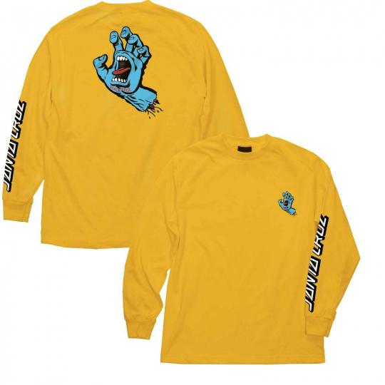 Santa Cruz Skateboard Longsleeve Shirt Screaming Hand Gold