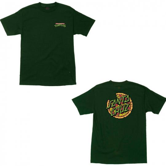 Santa Cruz Skateboard Shirt Teenage Mutant Ninja Turtles Pizza Dot Forest Green