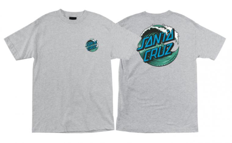 Santa Cruz Skateboards Wave Dot Logo Athletic Heather Grey T-Shirt