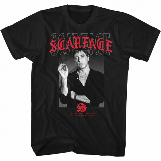 Scarface Text Layering 2 Black Adult T-Shirt