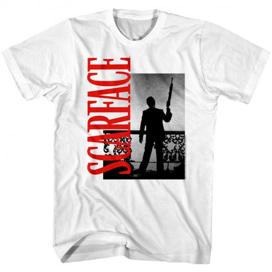Scarface Tony Montana Balcony Gun Men's T Shirt Movie Poster Pacino Silhouette