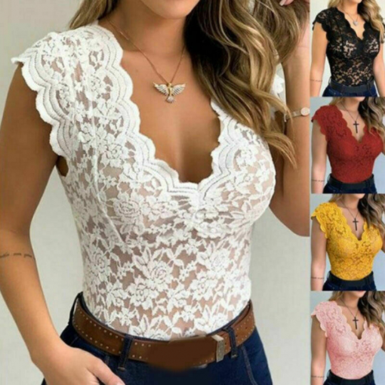 Sexy Women Sleeveless Lace Hollow T-shirt Blouse Vest Ladies V Neck Slim Tee Top