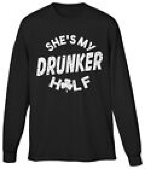 Shes My Drunker Half St Patricks Day Funny Couple Costume Joke Humor Mens LS Tee
