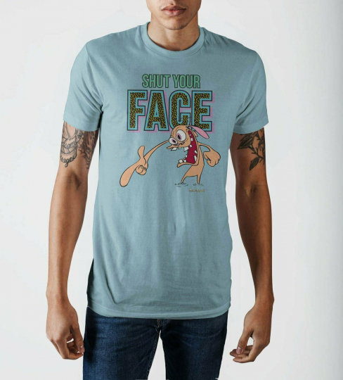 Shut Your Face Blue T-Shirt - Ren and Stimpy