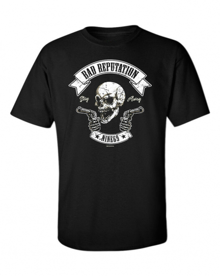 Skull T-Shirt Music Thug Life Guns Outlaw Punk Rock Metal Goth Bad Black Men Tee