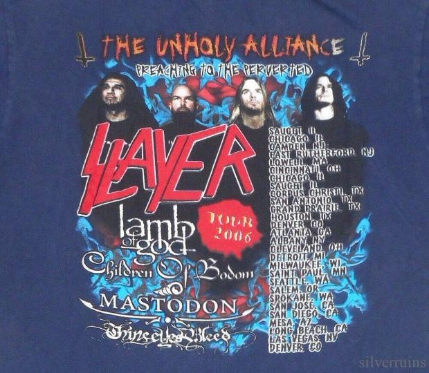 Slayer Vintage T Shirt 2006 The Unholy Alliance Tour Concert Cities Thrash Metal