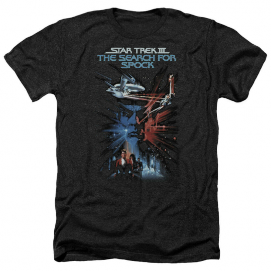 Star Trek SEARCH FOR SPOCK Movie Poster Licensed Heather T-Shirt All Sizes