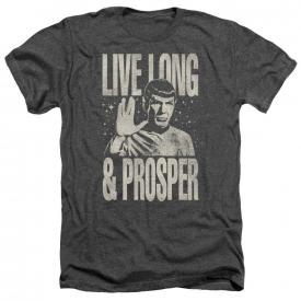 Star Trek Spock LIVE LONG & PROSPER Vintage Style Heather T-Shirt All Sizes