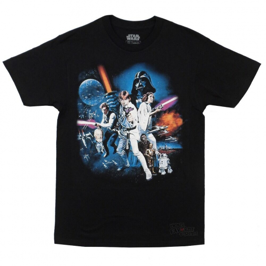 Star Wars Full Cast New Hope Movie Poster Licensed Adult T-Shirt