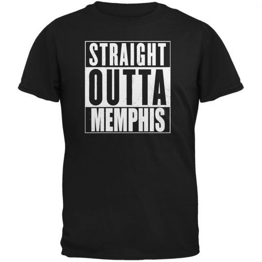 Straight Outta Memphis Black Adult T-Shirt