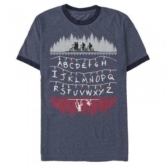 Stranger Things Alphabet Lights Mens Graphic Ringer T Shirt