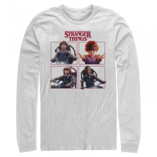 Stranger Things Character Squares Mens Graphic Long Sleeve Shirt