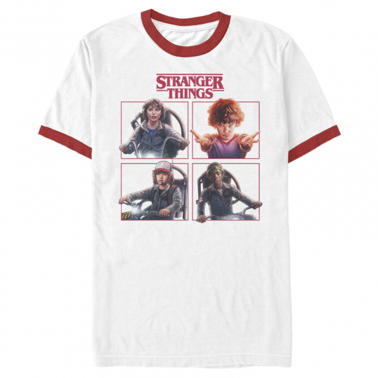 Stranger Things Character Squares Mens Graphic Ringer T Shirt