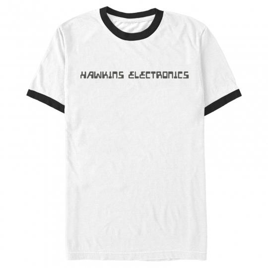 Stranger Things Hawkins Electronics Logo Mens Graphic Ringer T Shirt