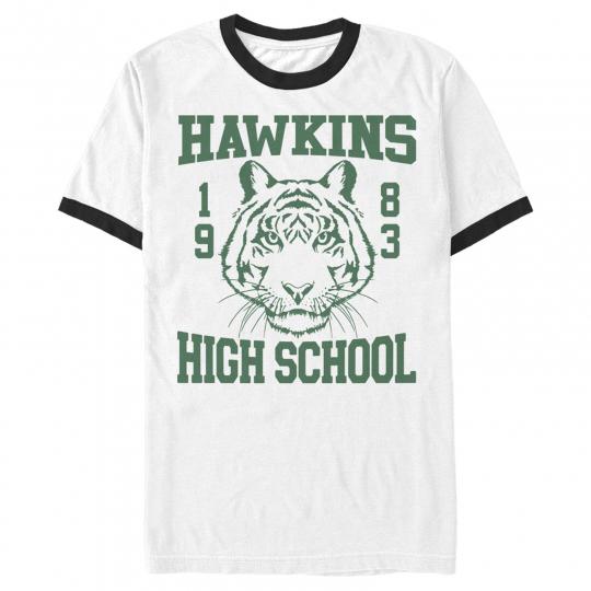 Stranger Things Hawkins High School Tiger 1983 Mens Graphic Ringer T Shirt