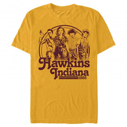 Stranger Things Hawkins Indiana Group Shot 1985 Mens Graphic T Shirt