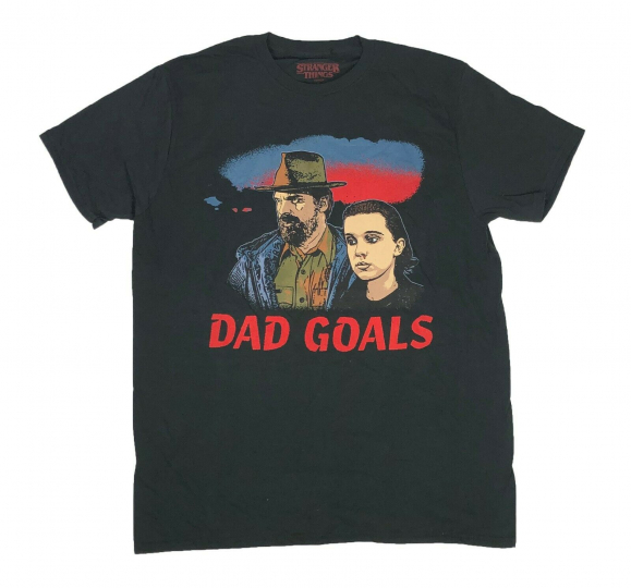 Stranger Things Men's T Shirt Dad Goals Chief Hopper Eleven TV Show Graphic Tee
