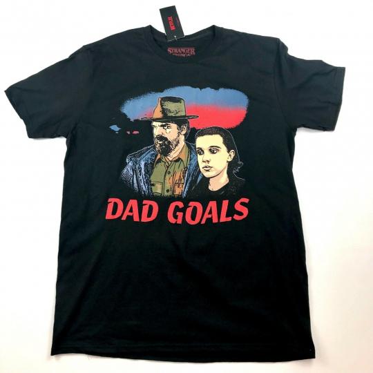 Stranger Things Netflix Dad Goals Chief Hop and El T-Shirt Size S, M, L, XL