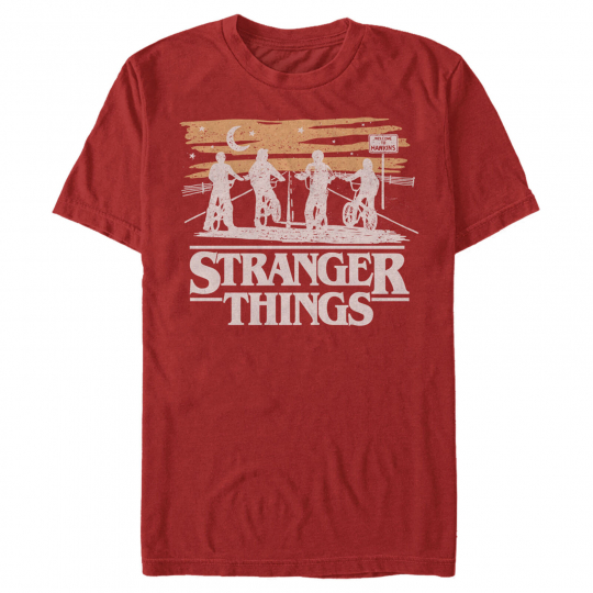 Stranger Things Starry Bike Ride Mens Graphic T Shirt