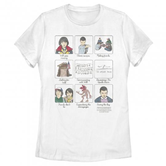 Stranger Things Story Panels Womens Graphic T Shirt