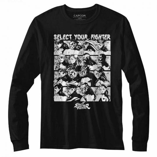 Street Fighter Select Screen Black Adult Long Sleeve T-Shirt
