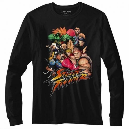 Street Fighter Stftr Black Adult Long Sleeve T-Shirt