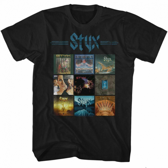 Styx Album Grid Black Adult T-Shirt