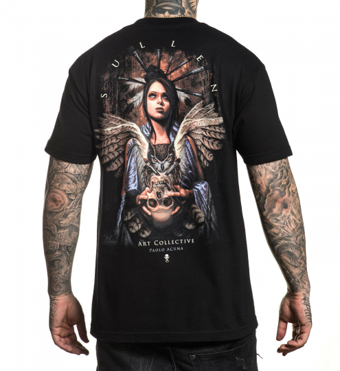 Sullen Men's Acuna Owl Short Sleeve T Shirt Black Clothing Apparel Paolo Acuna