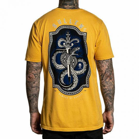 Sullen Men's Beware Premium Short Sleeve T Shirt Mustard Yellow Artwork by Br...