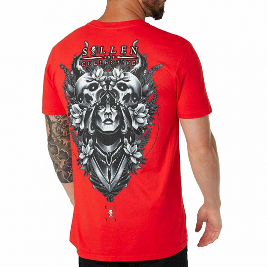 Sullen Men's Dryad Short Sleeve T Shirt Hibiscus Red Clothing Apparel Rose Sk...