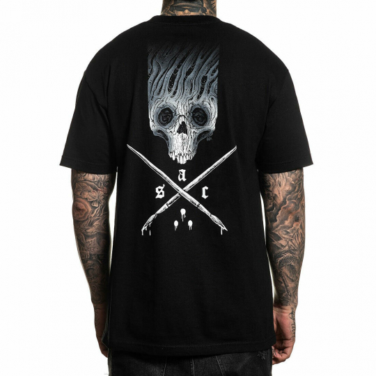 Sullen Men's Hammonds Badge Standard Short Sleeve T Shirt Black Artist Domantas