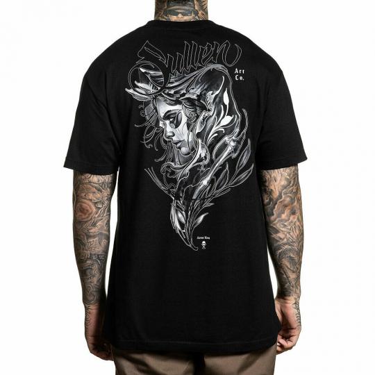 Sullen Men's Kings Standard Short Sleeve T Shirt Black Artwork by Aaron King Clo
