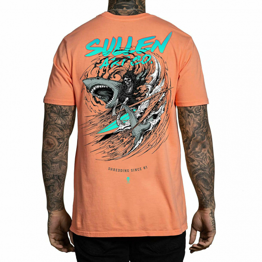 Sullen Men's Shredding Premium Short Sleeve T Shirt Coral Orange Dan Sholz Cl...
