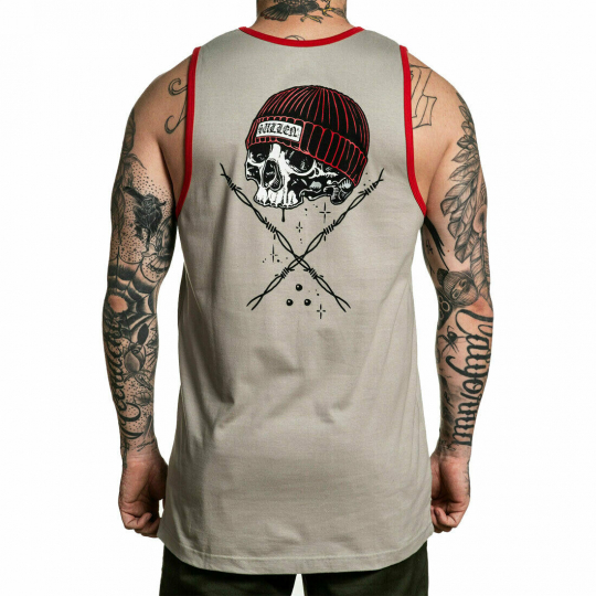 Sullen Men's Wire Badge Sleeveless Tank Top Shirt Gray/Red Clothing Apparel S...