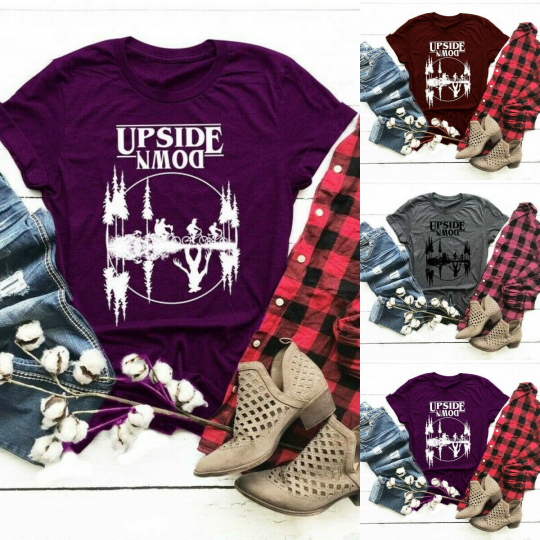 Summer Women Tops Printed Upside Down Eleven T Shirt Casual Vogue Graphic Tee