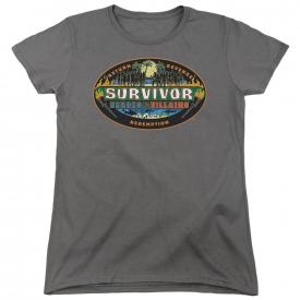 Survivor TV Show HEROES vs. VILLAINS Logo Licensed Women's T-Shirt All Sizes